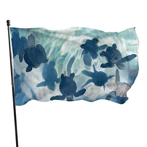 Bonita bandera de tortuga marina de 3 x 5 pies, pancarta decorativa para exteriores, bandera estándar para colgar en el exterior, para patio, jardín, césped, vacaciones