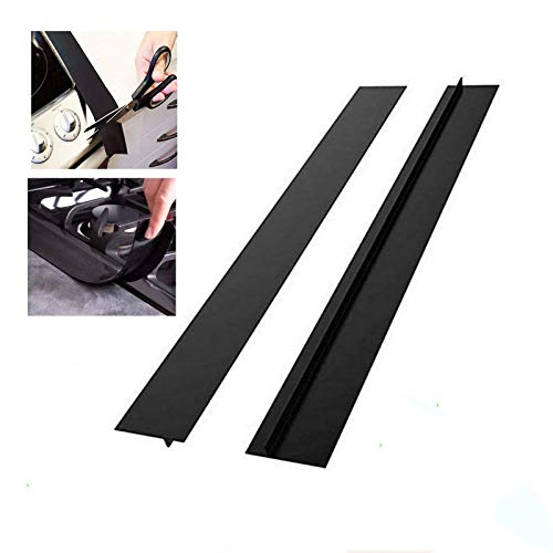 Kitchen Silicone Stove Cover, Easy Clean Heat Resistant Wide & Long Gap Filler, Seals Spills Between Counter, Stovetop,Washer & Dryer, Set of 2 (21 Inches, Black)