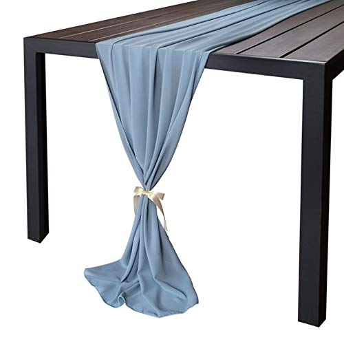 Linyuex Wedding Table Runners Soft Chiffon Fabric Wedding Runner Bridal Party Decorations (Color : Dusty Blue, Size : About 68cm x 300cm)