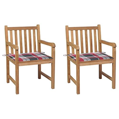 vidaXL 2X Madera de Teca Sillas de Jardín y Cojines Sillón Exterior Balcón Terraza Patio Asiento Butaca Muebles Mobiliario a Cuadros Rojos