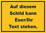 Schild mit Wunschtext waagerecht Text schwarz Hintergrund gelb A6 (105x148mm)