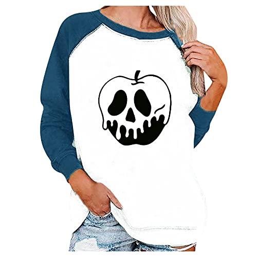 QINGXIA_ZI Mujer Camisetas Manga Larga Impresión de Halloween Blusa Cuello Redondo Casuales Elegantes Poloshirt Transpirable Vintage Sudadera Termica Flojo Otoño Invierno Pullover Sudaderas