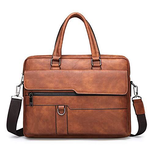 XZDM Handtasche Männer Messenger Bag Horizontale Crossbody Bag Polyester Kann Platz für 14-Zoll-Laptops, Reisen, Studium, Großraum Brown
