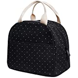 EurCross Upgraded Compact Black Lunch Bag for Girls Women,Canvas Polka Dot Lunch Tote Box Bag for Work School