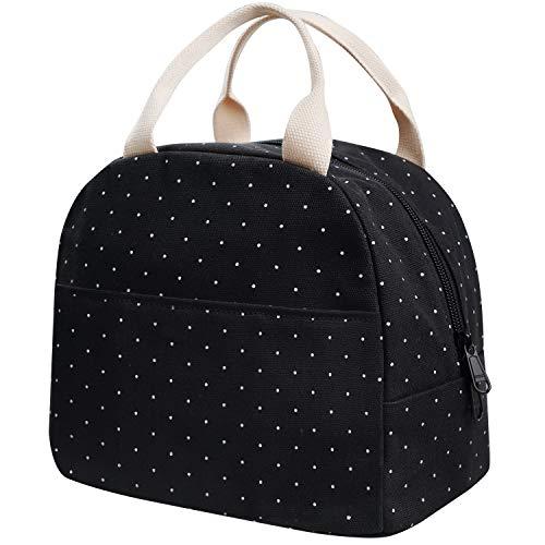 EurCross Lunch Bag,Canvas Compact Lunch Box Bag Polka Dot for Girls, Small...