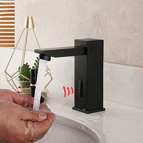 WOOLIY Grifos Infrarrojos con Sensor Táctil Negro, Grifo del Lavabo del Baño, Grifo para Baño, Latón, Grifos Mezcladores Automáticos para Lavamanos