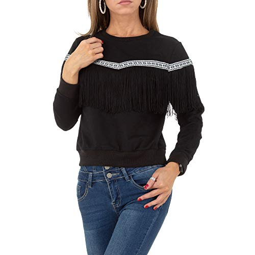 Ital Design Damen FRANSEN Boho Sweatshirt Drole de Copine Gr. L Schwarz