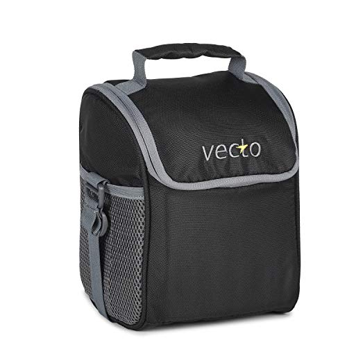 Vecto Foodie Fabric Lunch Insulated Tiffin Bag for Office Men and Women (Black)
