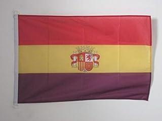 AZ FLAG Bandera ESPAÑA Republicana con Escudo 90x60cm Uso Exterior - Bandera DE LA Republica ESPAÑOLA 60 x 90 cm Anillos