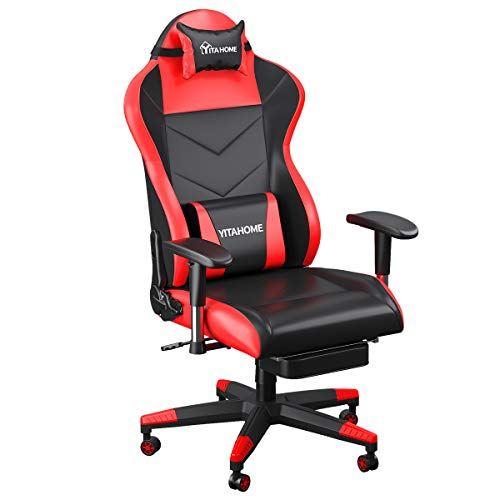 YITAHOME Massage Gaming Chair, Heavy Duty Big and Tall Computer Racing Desk Chair with footrest, and Large Size PU Leather Swivel Video Game Chair with High Back (Deluxe Red) chair gaming