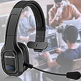Bluetooth Headset, Esolom Wireless Bluetooth Headset mit Noise Cancelling Mikrofon PC Kopfhörer Typ c Aufladung Freisprechen Bluetooth Over-Ear Headset für Call Center LKW Fahrer Skype Büro Zoom