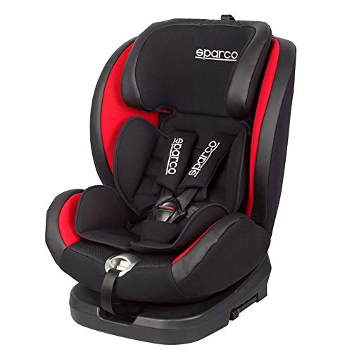 Sparco RD Seggiolino Bimbo Girevole SK600I (Isofix) Nero/Rossa da 0 a 36kg, da 0 a 12 Anni (E8-R44)