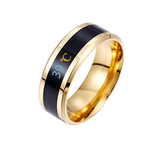 Anillos Hansee, anillo de parejas de temperatura inteligente y física para mostrar el estado de ánimo, regalo mágico para el día de San Valentín para hombres Dorado dorado 35