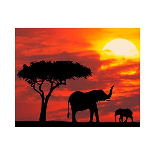 VOSAREA 5D DIY Diamante Pintura Kit Sunset Elephant Bordado Pintura Punto de Cruz Decoración de La Pared de Impresión Kits de Artesanía