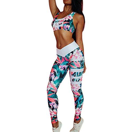 Morbuy Bekleidung Yoga Set, Komfort Damen Sport BH Jogginghose Sport Leggings Yoga Hose Trainingshose Sport Bustier ohne Bügel Yoga Fitness Training (L, Grün)