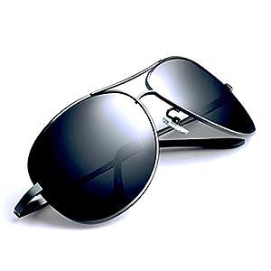 [FREESE] 偏光 サングラス ティアドロップ メンズサングラス クラシックデザイン 3D 立体フレーム UVカット 【福岡発のアイウェアブランドFREESE】(ブラックレンズ/ブラックフレーム)