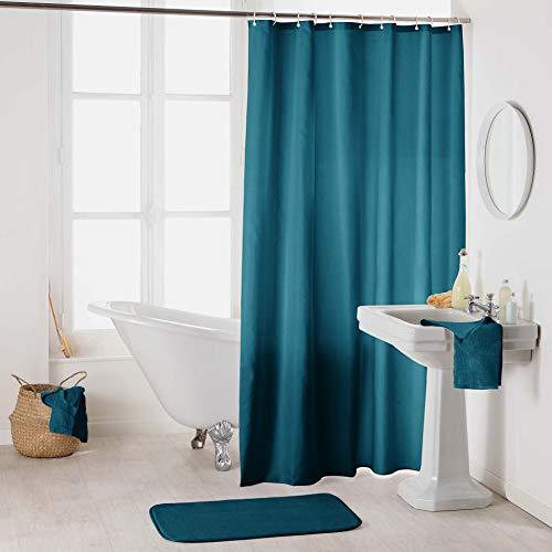 Sanixa Duschvorhang Textil 180x200 cm Uni Petrol grün-blau wasserabweisend waschbar Badewannenvorhang Vorhang hochwertige Qualität mit Ringen Metallösen