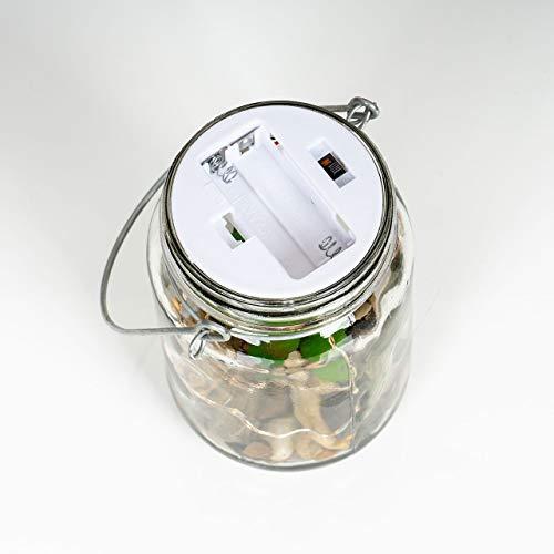 4er Set Sukkulenten Im Glas B x H: 8 x 13 cm Deckel LED Warmweiß Henkel Deko Tischdeko Lampe Kunstpflanze Hängelampe - 5