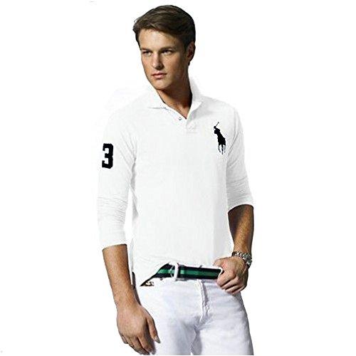 Ralph Lauren Langarm Poloshirt Big Pony Custom Fit (XL, Weiß)