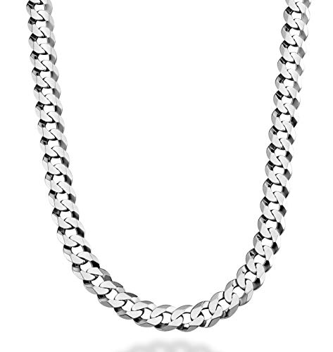 Miabella Solid 925 Sterling Silver Italian 9mm Solid Diamond-Cut Cuban Link Curb Chain Necklace for Men 18, 20,22, 24, 26, 28, 30 Inch Made in Italy (22 Inches)