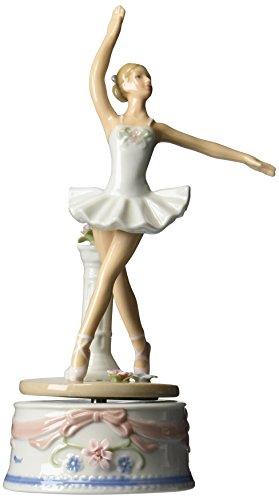COSMOS 10623Ballerina aus feinem Porzellan in Weiß Kleid Musical Figur, 9Zoll