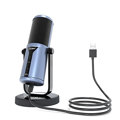 MSIZOY USBマイク コンデンサーマイク プラグアンドプレイ カーディオイドマイク 音量調節可能 ミュート リアルタイムモニター機能 高い互換性 PC ラップトップ Windows Mac OS Chrome Linux対応 ポッドキャスト 録音 ボ