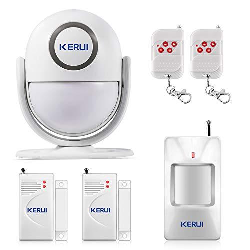 KERUI P6 Sistema de Alarma para el Hogar/Tienda/Oficina/Caravana, Kit de Alarma Casa Inalámbrico DIY con Sensor Alarma de Puertas y Ventanas y Detector de Movimiento, Sirena de 125 dB Incluye Batería