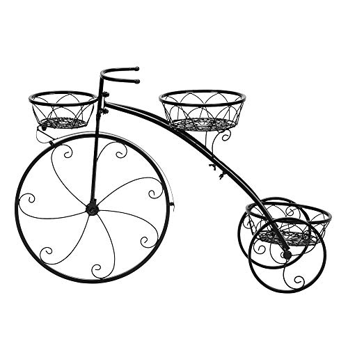 Takefuns Bicycle Shape 3 Plant Stand,Tricycle Plant Stand,Garden Plant Shelves,Plant Flower Stand Rack Shelf,Planter Organizer Display for Balcony-Black