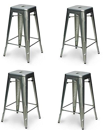La Silla Española - Pack 4 Taburetes estilo Tolix. Color Gris industrial. 76x43x43