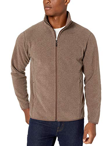 Amazon Essentials Men's Full-Zip Polar Fleece Jacket, Dark Brown Heather, Medium
