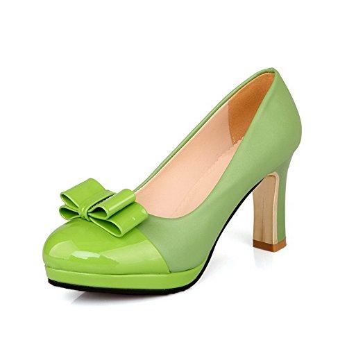 VogueZone009 Damen Rein Hoher Absatz Ziehen auf Rund Zehe Pumps Schuhe, Grün, 35