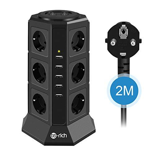 12fach Steckdosenleiste 5 USB Steckerleiste Mehrfachsteckdose Steckdosenturm Multi Steckdosen Mehrfachstecker mit 2 Schalter und 2m Kabel, Überspannungsschutz und Kurzschlussschutz 2500W/10A