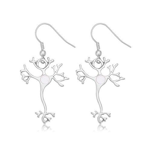 MANZHEN Science Jewelry Nerve Cell Dangle Earrings (Silver)