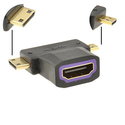 HDMI Enchufe a HDMI Micro y HDMI Mini Clavija Multi Usar Adaptador
