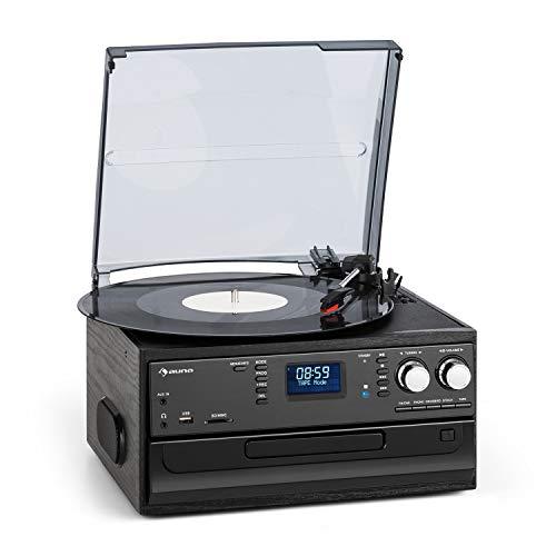 aunaOakland Dab Cadena estéreo - Reproductor de vinilos, CD y de Casete , Sintonizador de Radio Dab+/FM , Puerto USB y SD , Bluetooth , Transmisión a 33, 45 y 78 RPM , Mando a Distancia , Negro