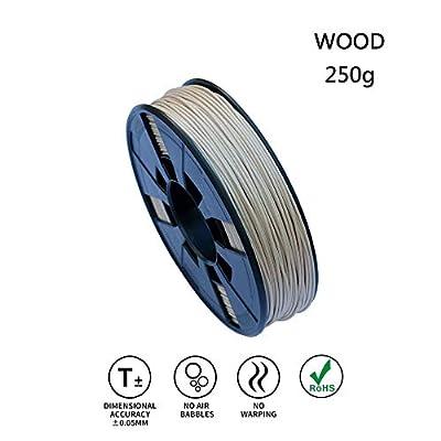LeeFung Real Wood PLA 3D Printing Filament,Dimensional Accuracy +/- 0.05mm, 0.55 LBS (0.25KG) Spool,1.75 mm 3D Filament for Most 3D Printer & 3D Printing Pen