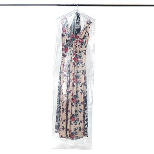 Transparante beschermhoesjes voor kleding, kledingzak/balkledingbescherming van polyethyleen. Lengte: ca. 182 cm - extra sterk - dikte van de folie 0,0625 mm Hangerworld 6 transparant