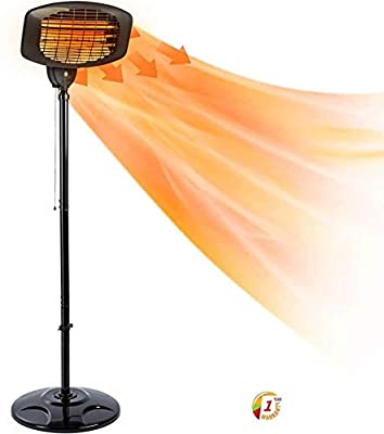 hmercy Outdoor Heater Electric Patio Heaters - 1500W Telescopic Freestanding Quartz Bulb Garden Heaters, Adjustable Temperature 3 Seconds Instant Warm