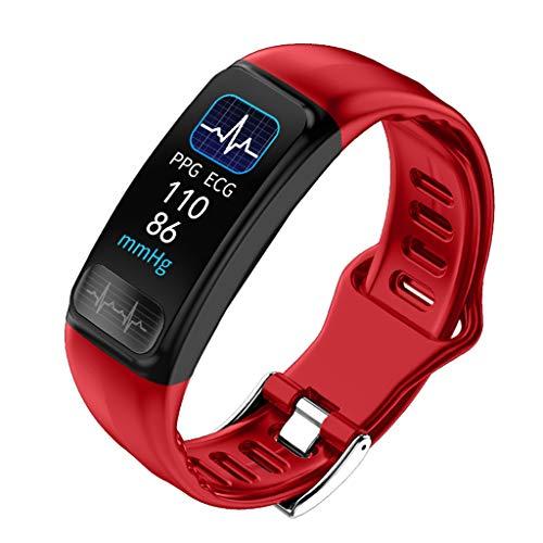 LQIAN P12 Fitness Tracker, Smartwatch wasserdichtes IP68 Fitness-Armband mit Herzfrequenz-Messgerät 0,96 Zoll Farbdisplay PPG + ECG + SPO2 Monitor Schrittzähler Uhr Unisex Smart Watch (Rot)