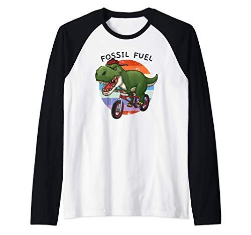 Combustible Fósil T Rex Ciclista Montar en Bicicleta Camiseta Manga Raglan
