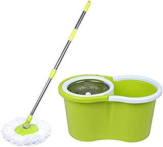 Eco Alpine 360 Degree Magic Spin Mop With Steel Spinner + 1 Refill Pack (Green And White)