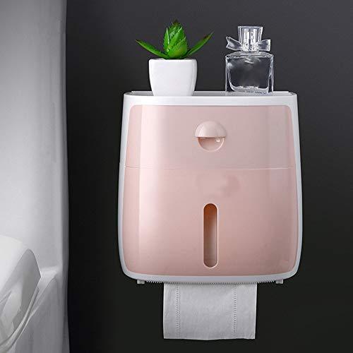HAOAYOU Toilettenpapierhalter Toilettenpapierhalter wasserdichte Wand Montiert Toilettenpapier Tablett Rolle Papier Tube Aufbewahrung Stube Tablett Tissue Box Regal 20,8 * 20,5 * 20 cm Rosa