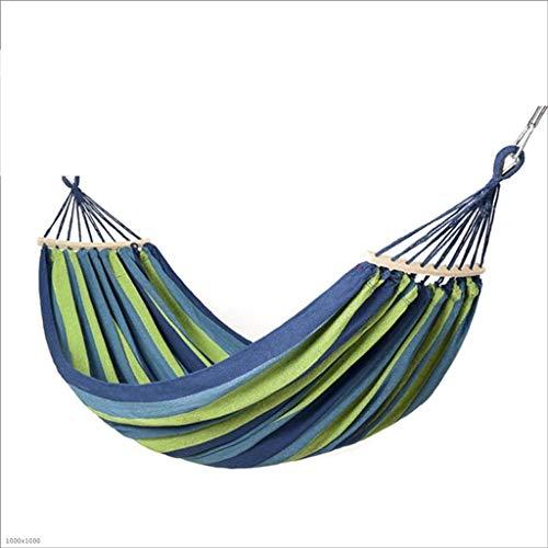 L.TSA Katoen Dubbele Hangmat Swing - Indoor Outdoor 2 Persoon Hangmat met Spreader Bar, Draagbare Camping Hangmat voor Achtertuin Veranda Reizen Boom Strand (kleur: Blauw en witte strepen)