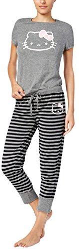 Sanrio Hello Kitty Juniors Pajama Set T-Shirt Top & Jogger Pants Simply Basic (Small)