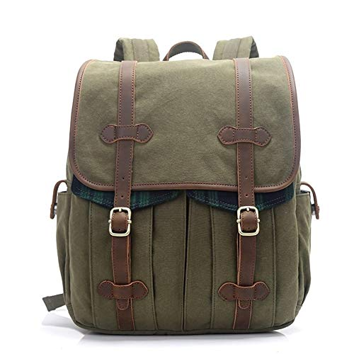 Bag Vintage Waxed Canvas With Leather Trim Outdoor Backpack School Backpack Knapsack Bag (Color : Army green, Size : S)