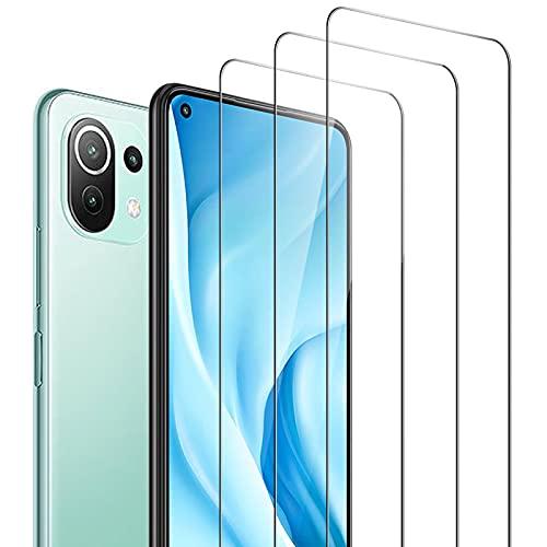 AFGLOOY 3 Stück, Bildschirmschutzfolie für Xiaomi Mi 11 Lite/Mi 11 Lite 5G, HD Panzerglas, Kratzfest, 9H Festigkeit, Einfach anzubringende Folie
