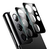 [2 Stück] Foncent Kamera Panzerglas Schutzfolie für Samsung Galaxy S21 Ultra, Umfassender Schutz, Anti-Bläschen, 3D Superdünner 9H Festigkeit Kratzfester Schlagfester