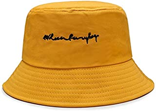 JJXSHLFL Spring New Fisherman hat Embroidery Letter hat Outdoor Travel Sunshade hat (Color : Yellow, Size : F)