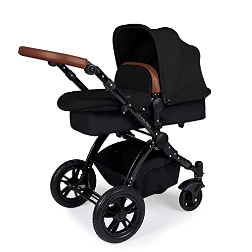 Ickle Bubba Stomp V3, All-in-one Travel System: Includes carrycot, Reversible Pushchair, Galaxy Group 0+ car seat with Isofix Base (Black with Tan Handles, Black Chassis)