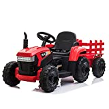 TOBBI 12v Battery-Powered Toy Tractor with Trailer,3-Gear-Shift Ground Loader Ride On with LED Lights and USB&Bluetooth Audio Functions in Red